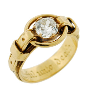 Victorian Buckle Ring with center mine cut diamonds