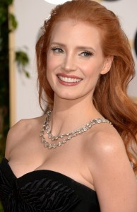 Jessica Chastain in rows of diamonds