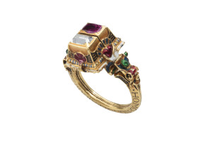 Rothschild-Diamond-Ruby-and-Enamel-Gimmel-Ring  2nd photo