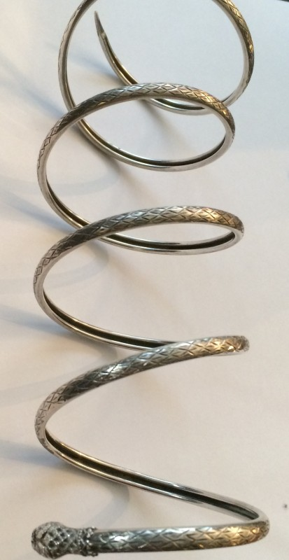 my circa 1920s silver snake slither up the wrist bracelet  (Glorious Antiques)